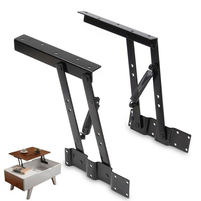 ФОТО MTGATHER 1Pair Black Lift Up Coffee Table Lifting Frame Mechanism Spring Hinge Hardware Metal 17.2 x 22.7 x 24cm