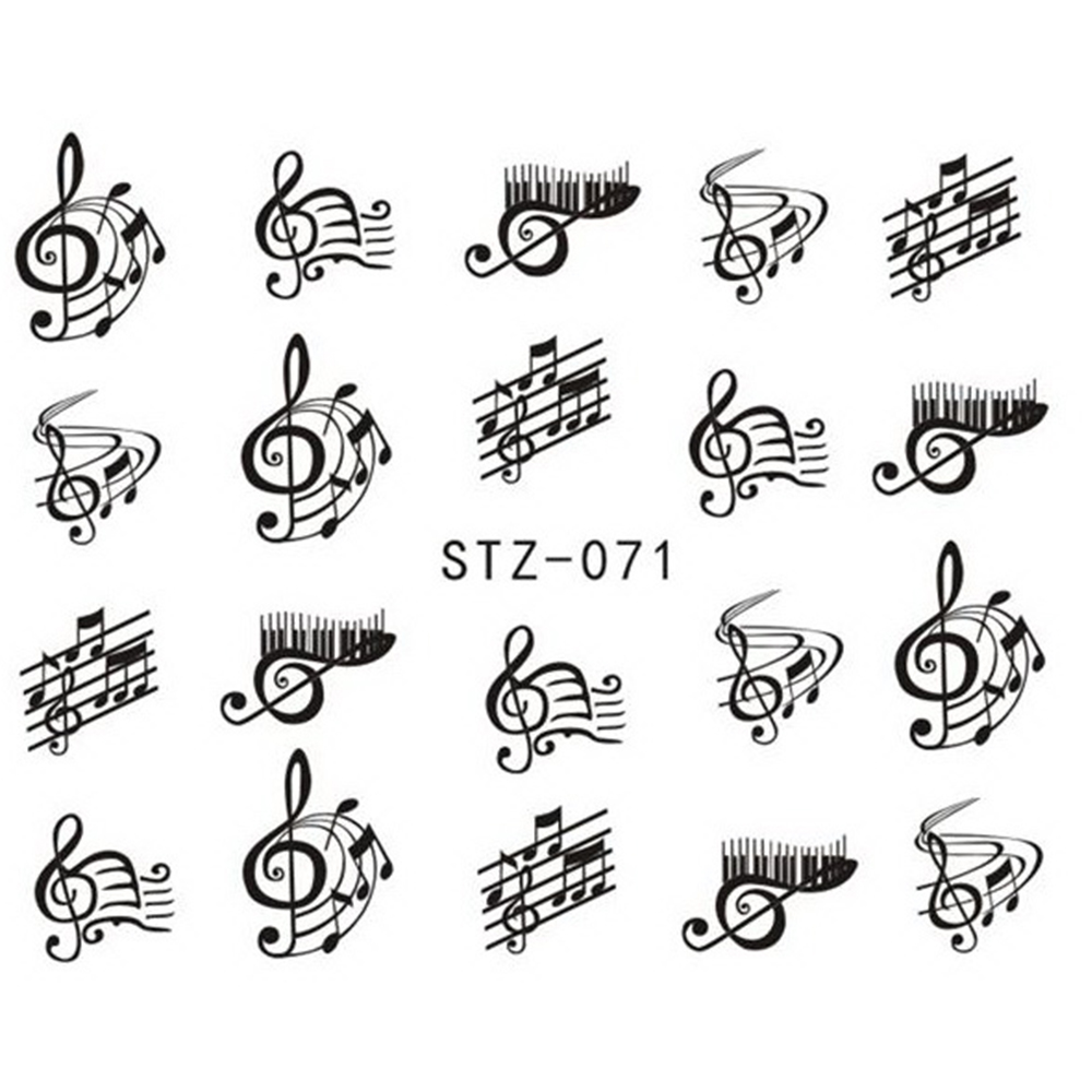1 Sheet Nail Art Decorations Nail Sticker DIY Black Colors Music Note Nails Designs Water Transfer Decals Styling TRSTZ018-658