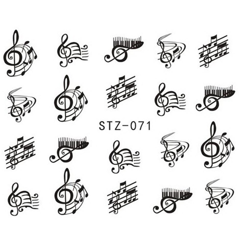 1 Sheet Nail Art Decorations Nail Sticker DIY Black Colors Music ...
