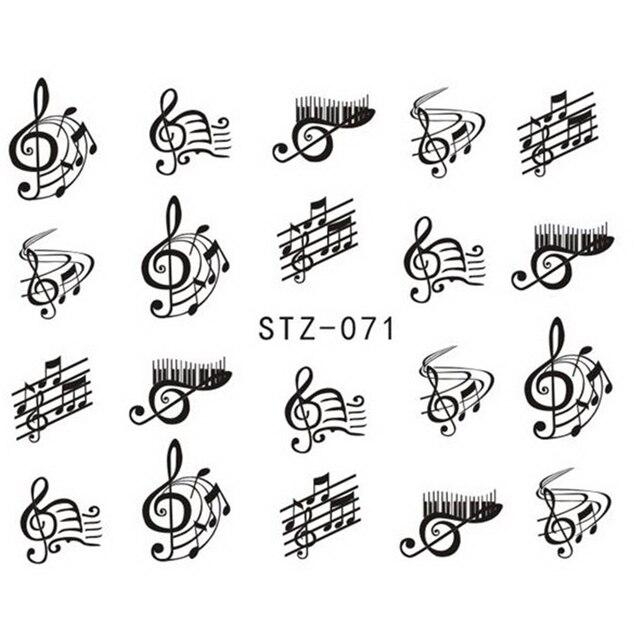 1 Sheet Nail Art Decorations Nail Sticker Diy Black Colors Music