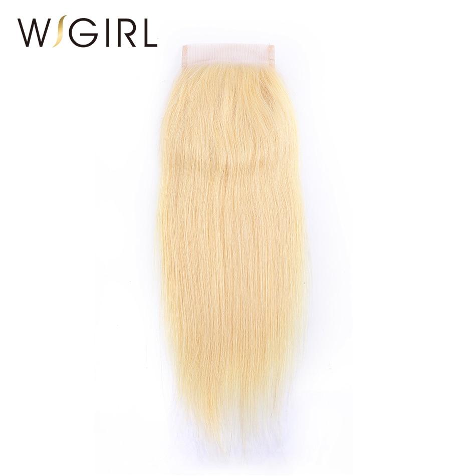 Wigirl Hair Brazilian 613 Blonde Lace Closure Straight 4x4 Remy Human Hair Closure Free Part Bleached