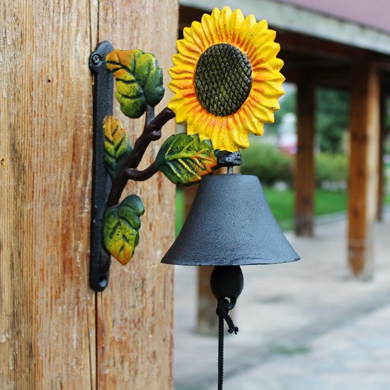 Винтажный двухсторонний Солнечный цветок дизайн черный с желтым зеленым ручная роспись чугунный садовый декор двери висячий приветственн...