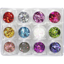 12Colors/set Laser Nail Glitter Sequins Holographic Five-Pointed Star Iridescent Flakes Paillette Craft 3D Art
