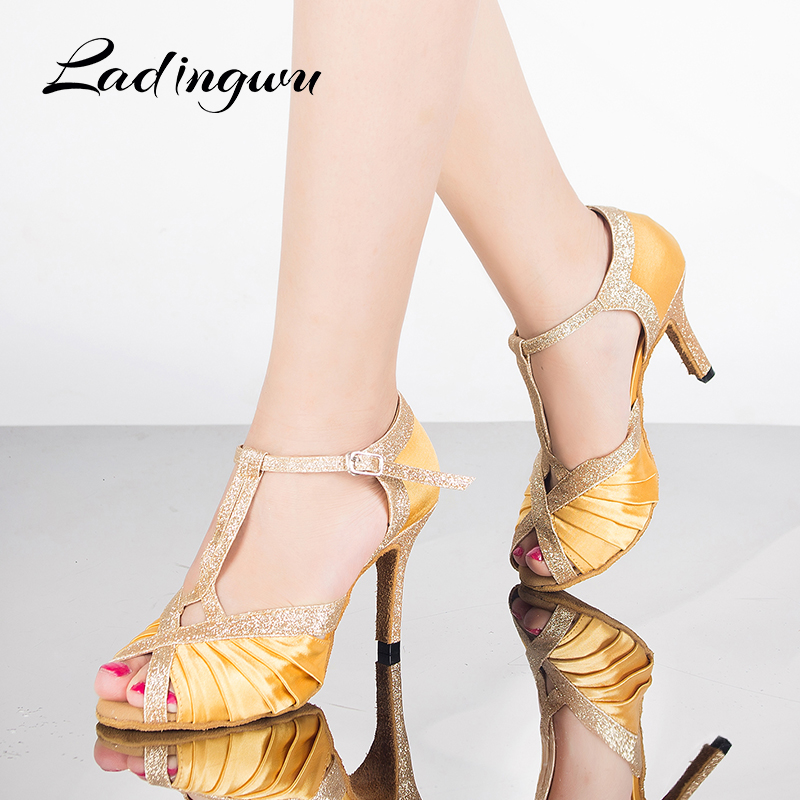 Ladingwu Womens Ballroom  Party Latin dance shoes  Soft bottom shoes Professional Dancing Shoes  Yellow /Tiger texture SatinLadingwu Womens Ballroom  Party Latin dance shoes  Soft bottom shoes Professional Dancing Shoes  Yellow /Tiger texture Satin