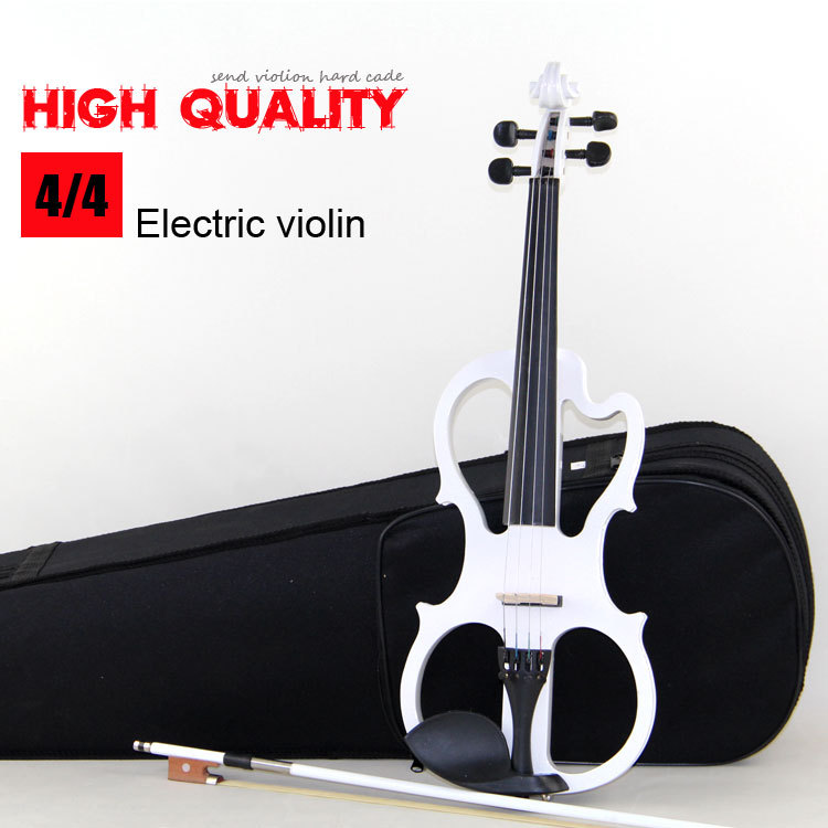 4/4  violin Send violin Hard case, Handmade white electric violin with power lines FREE SHIPPING transparent 4 4 violin led light send violin hard case electric violin with colorful power lines and violin parts for lover