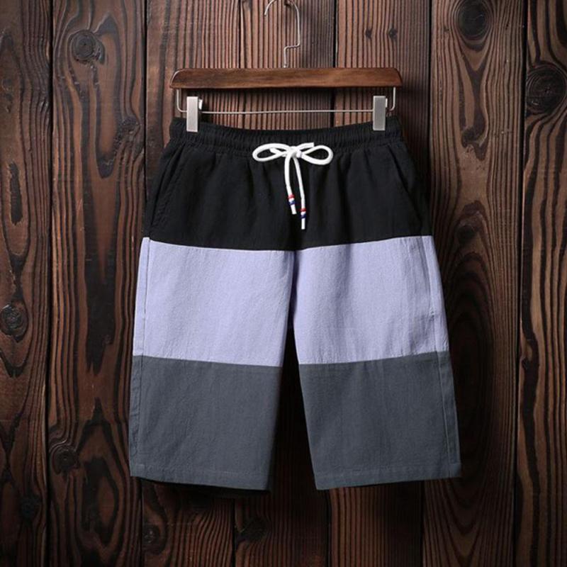 Yiyi Clothes Store Beach Shorts Men 4XL Boardshorts Cotton Drawstring Spell Color Harajuku Style Sweatpants Knee-length Casual bermuda masculina Z2