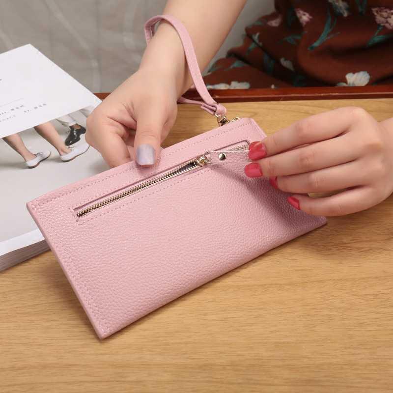 Moda de alta Capacidade Mulheres Carteiras Longo PU Carteira de Couro Feminino Zipper Senhoras Embreagem Wristlet Ultra fino saco do telefone Móvel