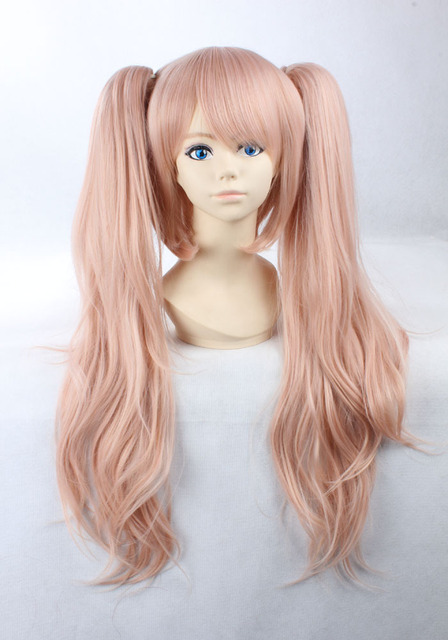 High Quality Girls Long Curly Pink Manga Super Danganronpa 2 Cosplay Junko  Enoshima Wig Ponytails Wigs 315feaed1ab0