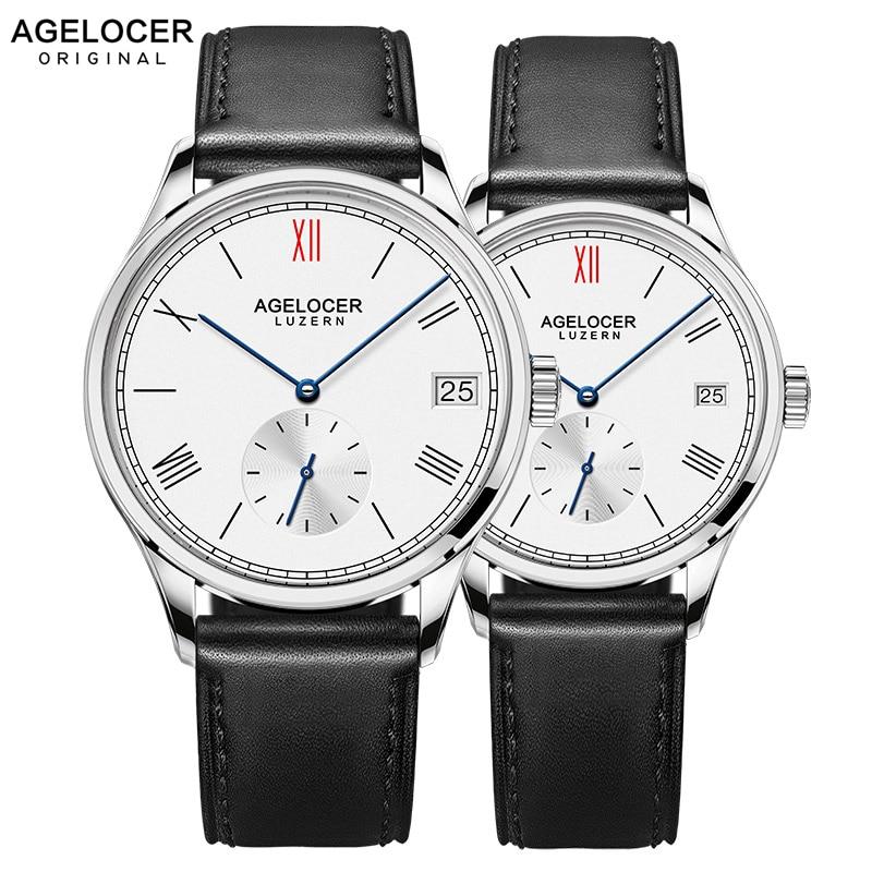 Agelocer Brand Luxury Mechanical Watch Male Female Lovers Watches Women Men Clock Hour Dress Bracelet Watches Relogio Masculino