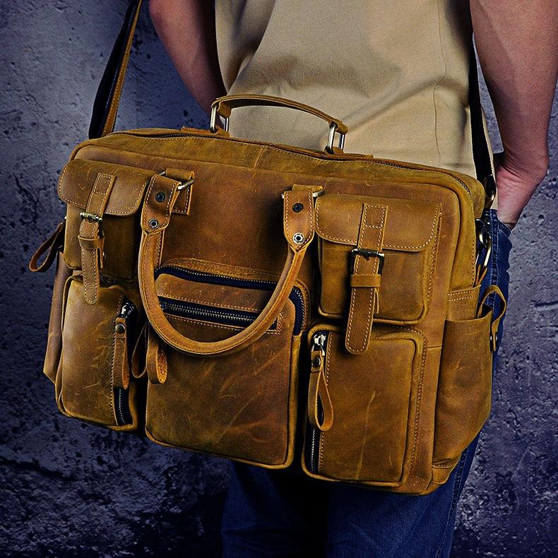 HTB1DoP.dTnI8KJjSszbq6z4KFXaB Original leather Men Fashion Handbag Business Briefcase Commercia Document Laptop Case Design Male Attache Portfolio Bag 3061-bu