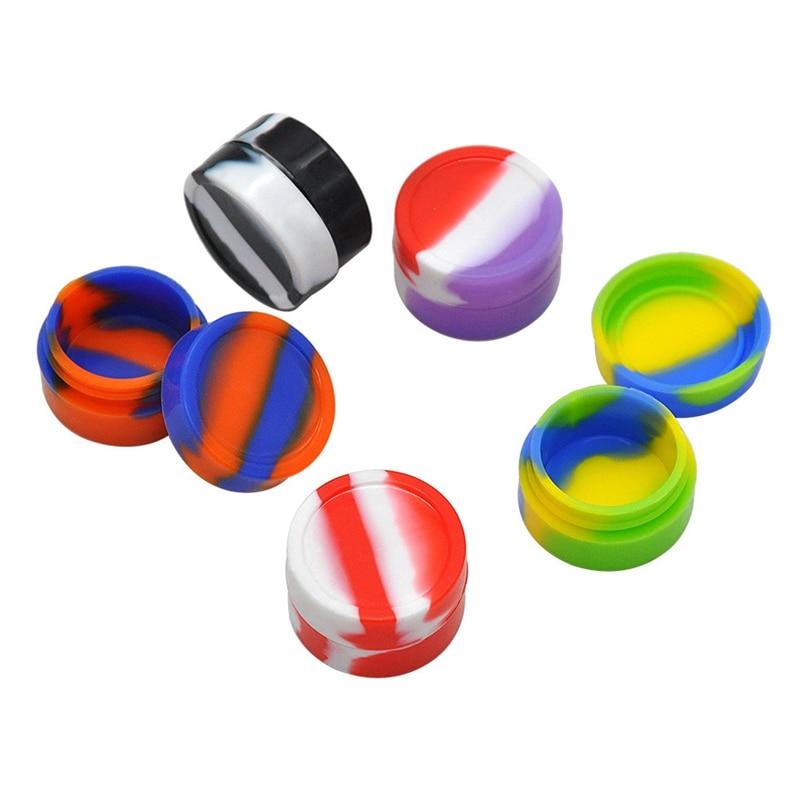 Protable 3ml 5ml 8ml Nonstick Silicone Container Storage Box For Oil Wax Jar Dab Random Color