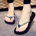 Новые 2017 моды платформы сандалии горный хрусталь флип-флоп женщин сандалии Квадратные тапочки летние туфли sandalias mujer s298