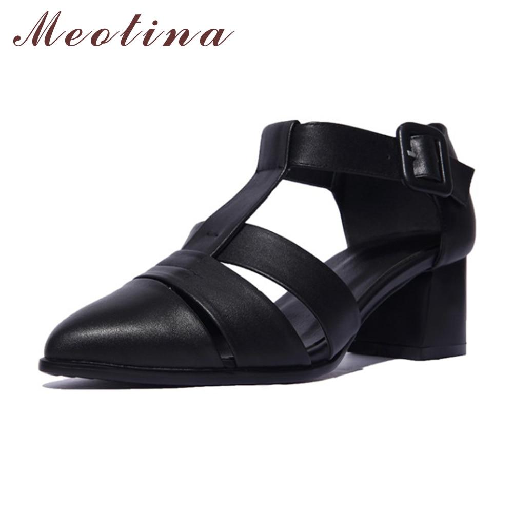 Black dress sandals medium heel - Meotina Genuine Natural Leather Sandals Designer Ladies Shoes Pumps Pointed Toe Ankle Strap Chunky Medium Heels