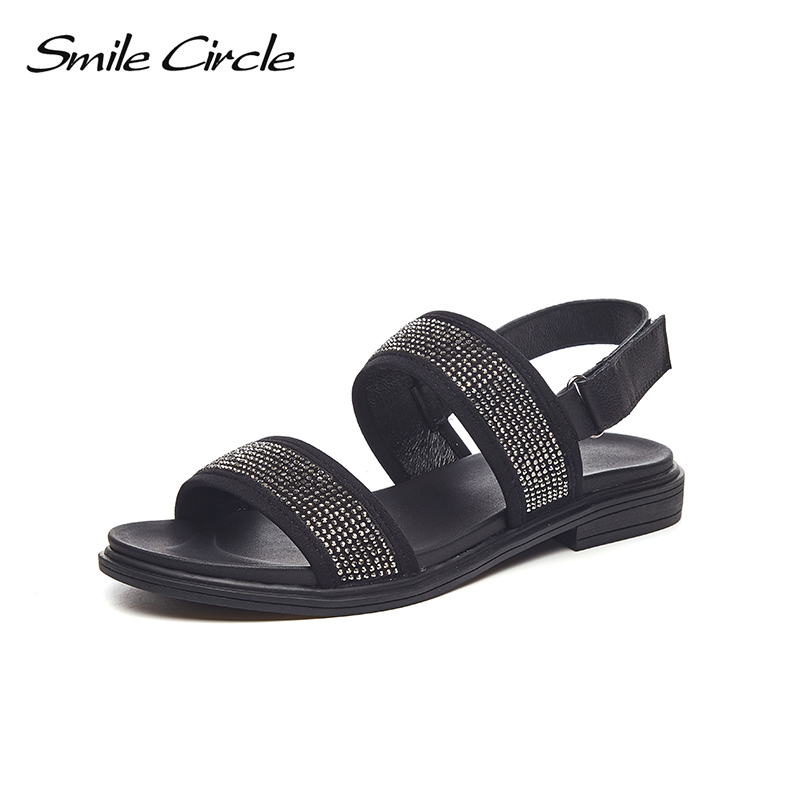 Smile Circle Summer Sandals Women Fashion Rhinestone Flat shoes For Women Open Toe Flat Sandals chaussures femme ete 2018
