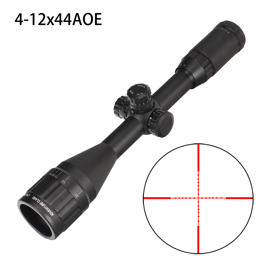 Hunting 4-12X44 AO Riflescope Tactical Optical Sight Full Size Mil Dot Red Green Blue Llluminate Reticle Turrets Lock Scope