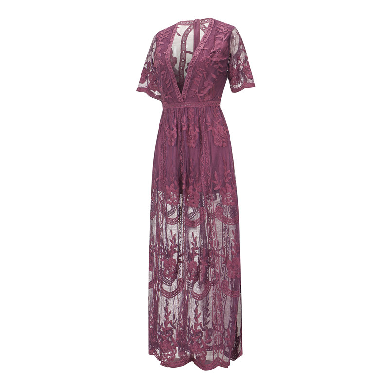 Women Midnight Lace Sleeveless Maxi Romper Dress Sheer Back and Maxi Cape Sexy Lace High Quality Back Custom Made Hook Glower in Dresses from Women 39 s Clothing