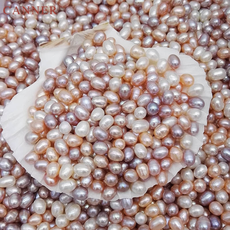 50pc/Bag 6-7mm Natural Oval Mix Color Freshwater Pearl Black White Pink Pearls Beads For DIY Necklace Bracelet Jewelry Making C4