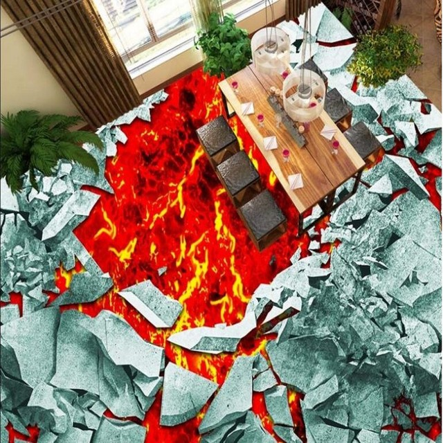 Beibehang Personnalise Grande Fresque 3d Mur Brise Volcanique Magma