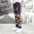 De alta Calidad 3D Impreso Pantalones Vaqueros Negros de Los Hombres de Mezclilla de Moda Para Hombre pantalones vaqueros 2016 Nuevos Pantalones Vaqueros Flacos Elásticos Casual Hombres Ropa de Tamaño 28-36