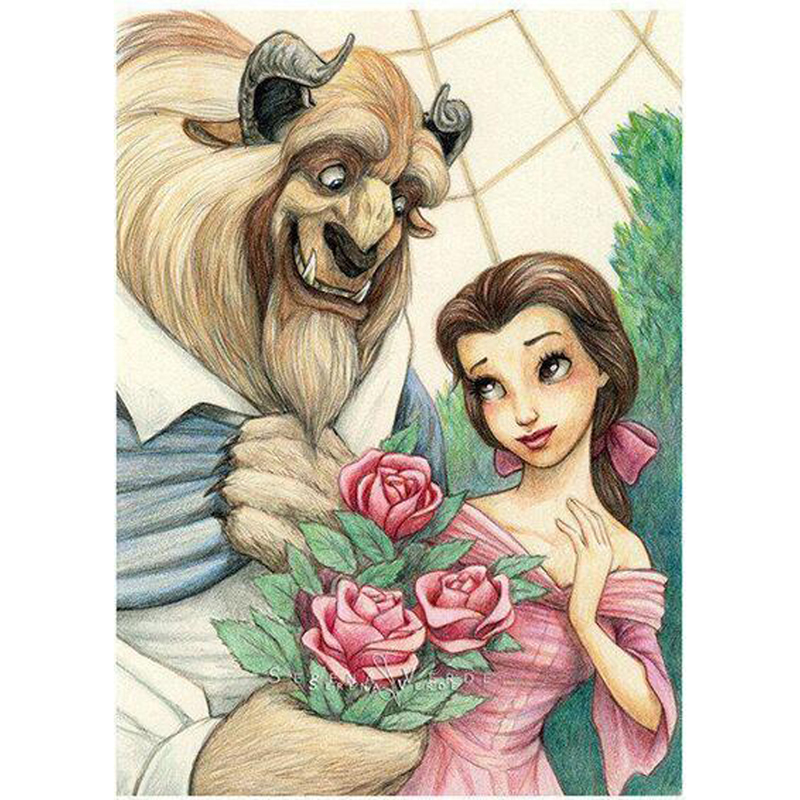 2016 New Diy 3d Diamond Painting Beauty And Beast Lover