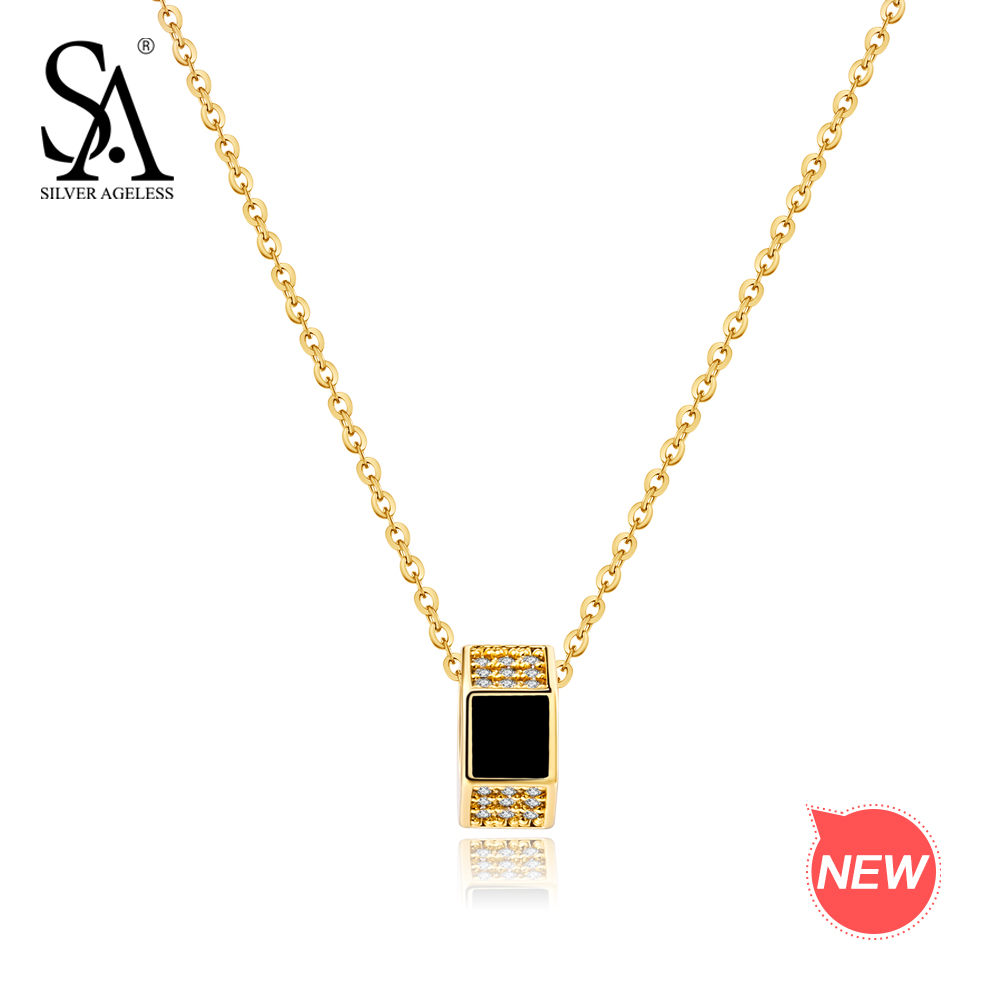 SILVER AGELESS 9K Gold Round Pendant Necklace Gemstone Choker Necklaces Real Gold Pendant With Silver Chain fashion colorful striped pattern square shape pillowcase without pillow inner