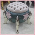Hand-crated printing pumpkin stool purple color free shipping