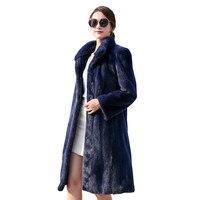 Осень-зима шуба Для женщин из искусственного меха норки пальто Мода Стенд воротник с длинными верхняя одежда Большие размеры S-6XL утолщаются...