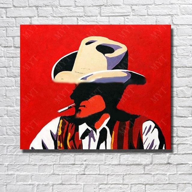 pinceau mur art salon d cor peint la main de fumer homme. Black Bedroom Furniture Sets. Home Design Ideas