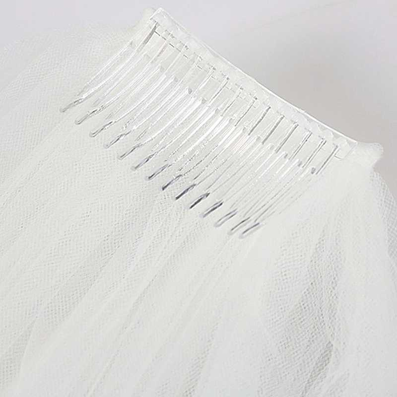 Vrouwen Double Layer Bruid Centrum Cascade Wedding Veils Ribbon Edge Met Kam Nieuwe