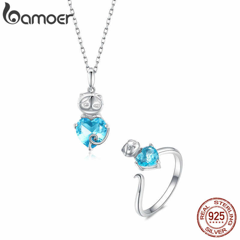 bamoer Ocean Blue Starfish Necklace Earrings Jewelry Sets Authentic 925 Sterling Silver AAA Zirconia Stone Jewelry ZHS127