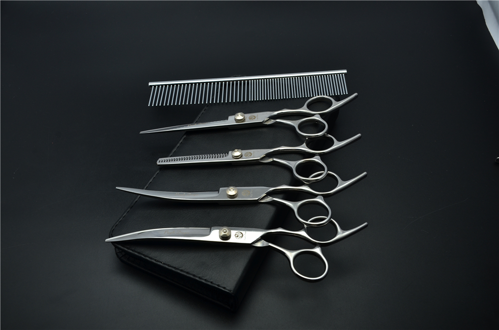 5Pcs Set 3001-Z# 7'' Hairdressing Scissors Bent Up/Down Curve + Comb +Cutting +Thinning Shears Dogs Cats Pets Hair Scissors Suit