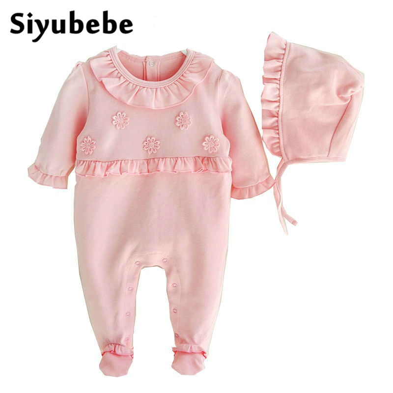 Newborn Baby Girl Clothes Flowers Romper Clothing Set Princess Cotton Coveralls Bebe Jumpsuit New Infant Baby Girl Rompers 0-9M baby rompers baby winter coveralls infant boy girl fleece romper ropa nena invierno knitted stripe jumpsuit bebe newborn outwear