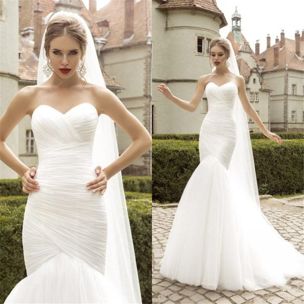 Sweetheart Mermaid Wedding Dresses 2019 Sleeveless Tulle Bridal Gown Back Lace Up Robe De Mariage With Sweep Train Custom Made