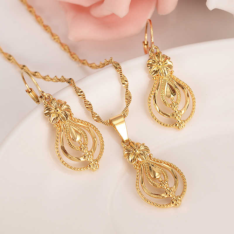 Dubai India Ethiopian Set Jewelry Necklace pendant Earring jewelry Habesha Girl Gold flower African Bridal Sets best gift women