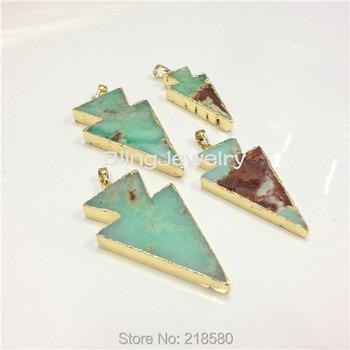 Lime Green Chrysoprase Arrowhead Pendant with Gold Edges PM2256