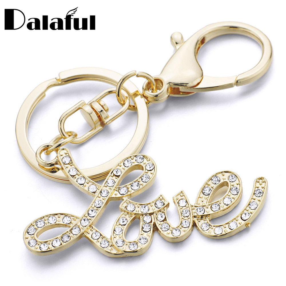 Dalaful Letter Love Keychains Keyrings Purse Bag Pendant Car Key Chain Ring Holder Souvenir Lovers Gift K348