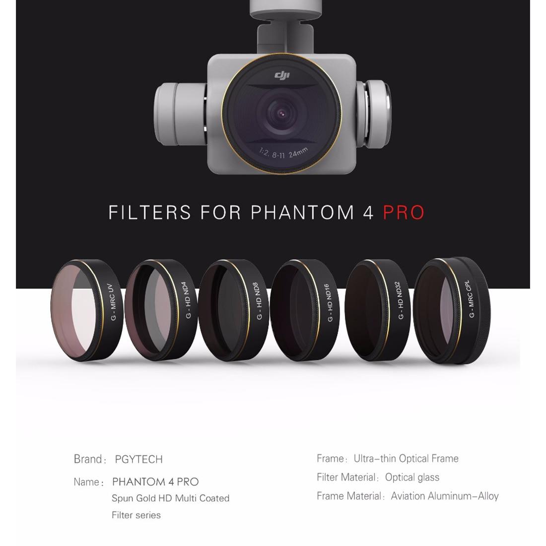 PGYTECH For DJI phantom 4PRO V2.0 Accessories Lens Filters UV/ND4/8/16/32/CPL gradual HD Filter Drone gimbal Set цены