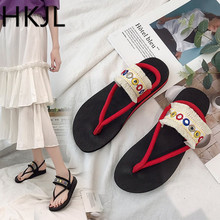 HKJL Fashion Women Summer 2019 New Simple Baitao Leisure Flip-flops Anti-skid Beach Sandals Female A216