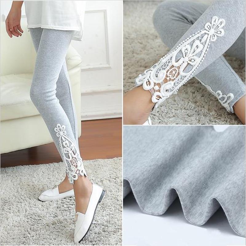 YRRETY Fashion Spring Sexy Women Leg Triangle Side Lace Leggings Cotton Soft Slim Stretch Legging Women Workout Clothes Pants