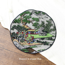 1 Piece Big Chinese landscape painting embroidery round cloth stickers black mesh bottom sew on Patch applied embroiedry