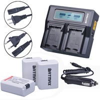 3Pcs 2000mAh NPFW50 NP FW50 NP FW50 Battery Accu Fast LCD Dual Charger For Sony Alpha