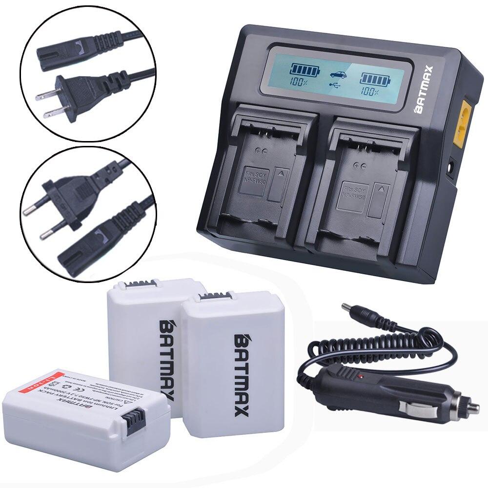 3 unids 2000 mAh NPFW50 NP-FW50 NP FW50 batería accu + Fast LCD cargador dual para Sony Alpha 7 A7 7R a7R 7 s a7S a3000 a5000 a6000 A55