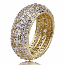 Men Hip hop iced out bling Pave Setting Zircon Round Rings fashion popular Charm Ring for Party Hiphop jewelry gits(China)