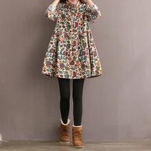 Plus Size S-5XL Women Vintage Floral Print Dress Casual Lapel Long Sleeves Pleat
