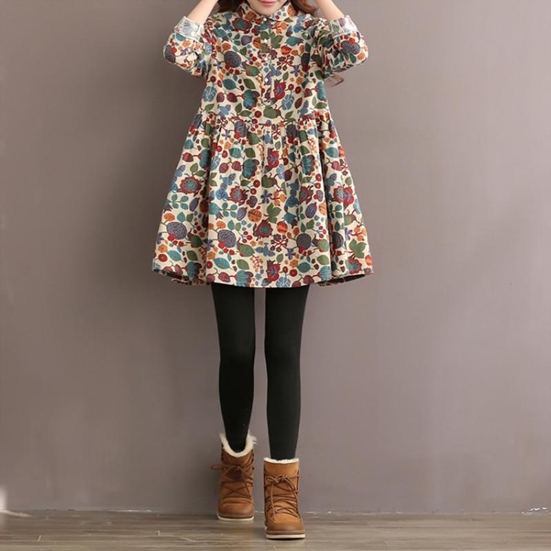 Plus size S-5XL feminino vintage floral impressão vestido casual lapela mangas compridas plissado curto solto turn-down colarinho mini camisa vestido