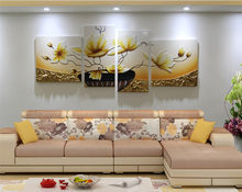 4 paintings /floral diamond embroidery hand room 5d diy diamond painting nursery wall art cross stitch landscape Lotus gold(China)