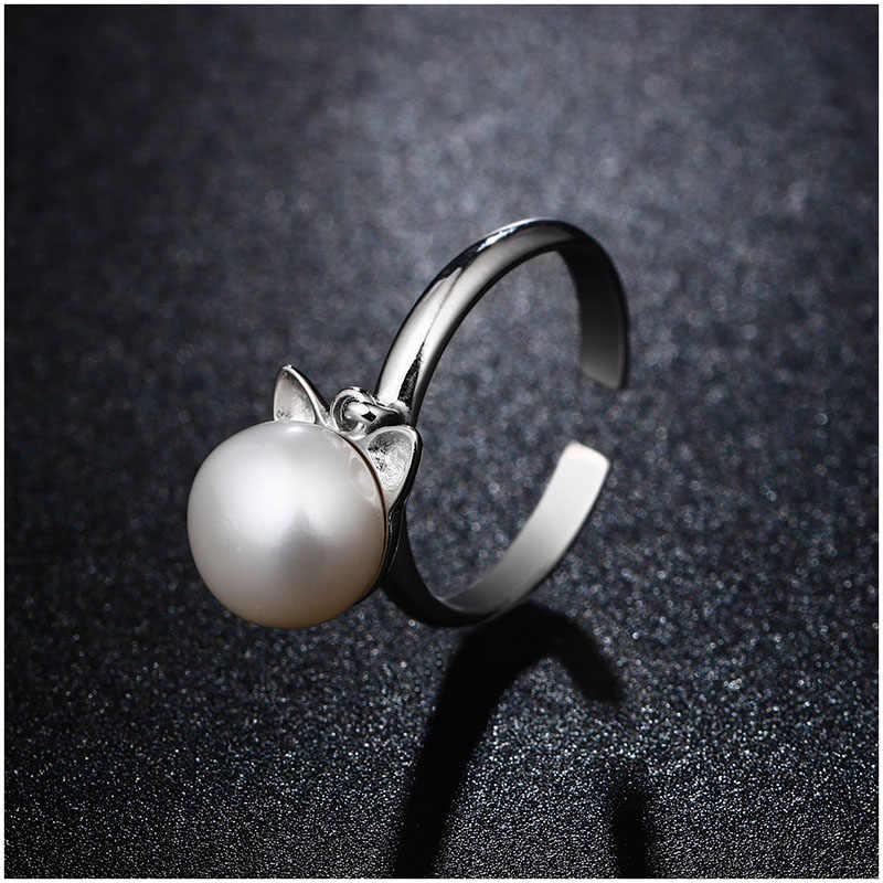 Hongye ธรรมชาติ Pearl จี้สร้อยคอ 925 เงินสเตอร์ลิงต่างหูแหวนไข่มุกน้ำจืดน่ารัก Cat เครื่องประดับชุด 2018