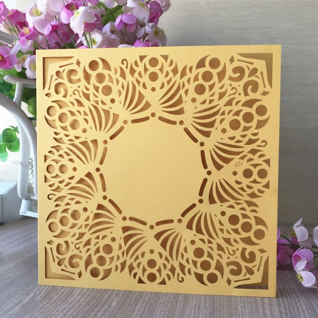 30Pcs lot Laser Cut Wedding Invitation Card Holder Gold Hollow Invite Design  Engagement Bridal Shower Printable Free Shipping 85054cec4a0c