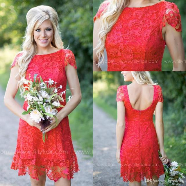 2017 Red Full Lace Short Bridesmaid Dresses 2017 Western Country Style Cap  Sleeves Mini Backless Wedding Gust Gowns B142 8150ca0ba436