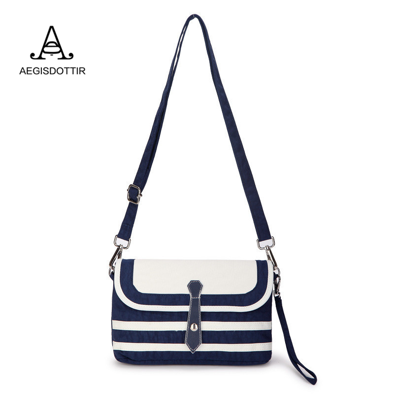 Womens Vintage Canvas Embroidery Navy Stripes Small Shoulder Bags Ladies School Girl Blue and White Crossbody Bag Mochila Mujer